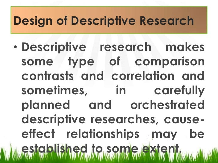 what is a descriptive research method Ed 512 quantitative research methods course home || syllabus || final project || descriptive/survey research || selecting a topic.