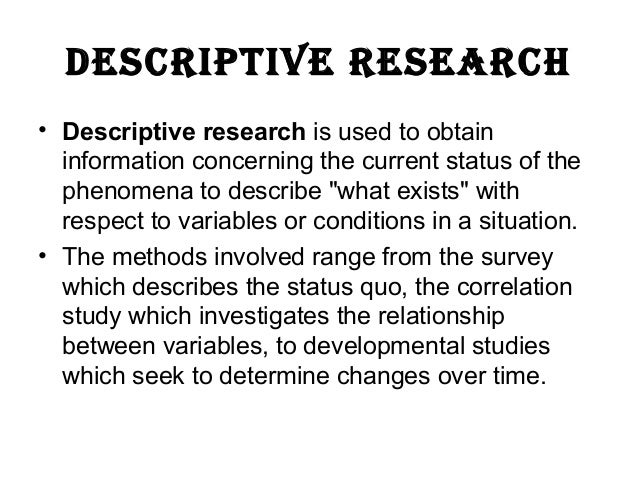 Descriptive Research: Definitions