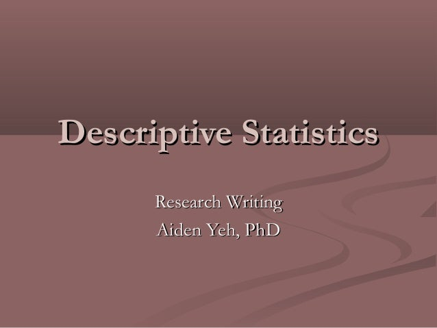 data analysis for descriptive research