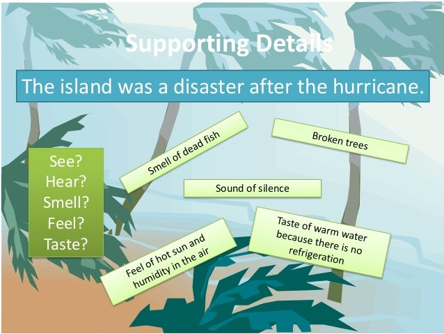 Supporting DetailsThe island was a disaster after the hurricane.   See?  Hear?               Sound of silence  Smell?   Fe...