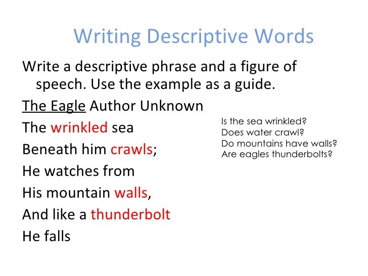 Descriptive phrases for creative writing
