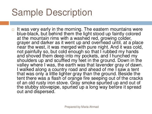 Descriptive essays about a place