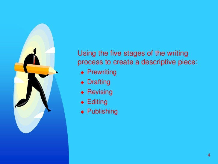 4<br />Using the five stages of the writing process to create a descriptive piece:  <br />Prewriting<br />Drafting<br />R...