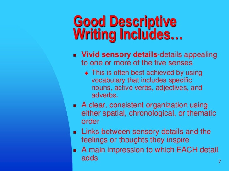 Topics for descriptive writing