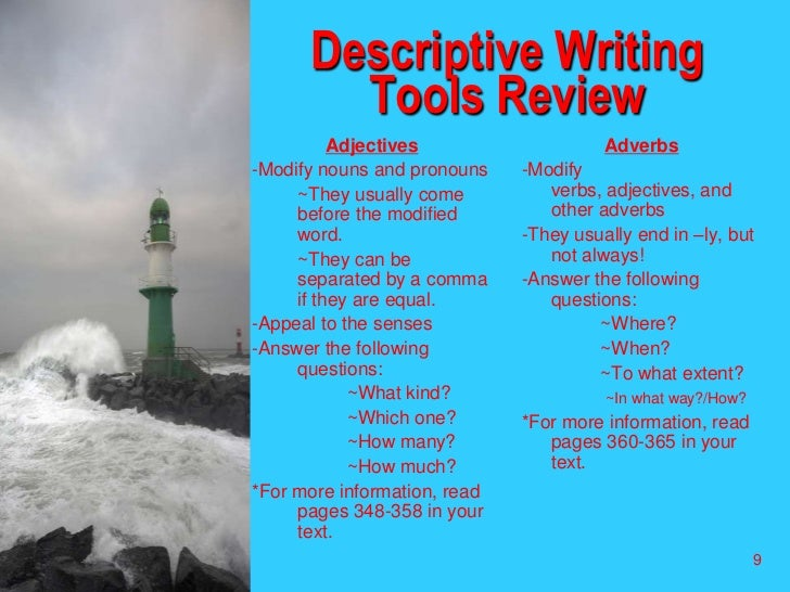 descriptive vignette essays A vignette is a short piece of literature used to add depth or understanding to a  story the word  most of all, it should be short, but descriptive in terms of length, .