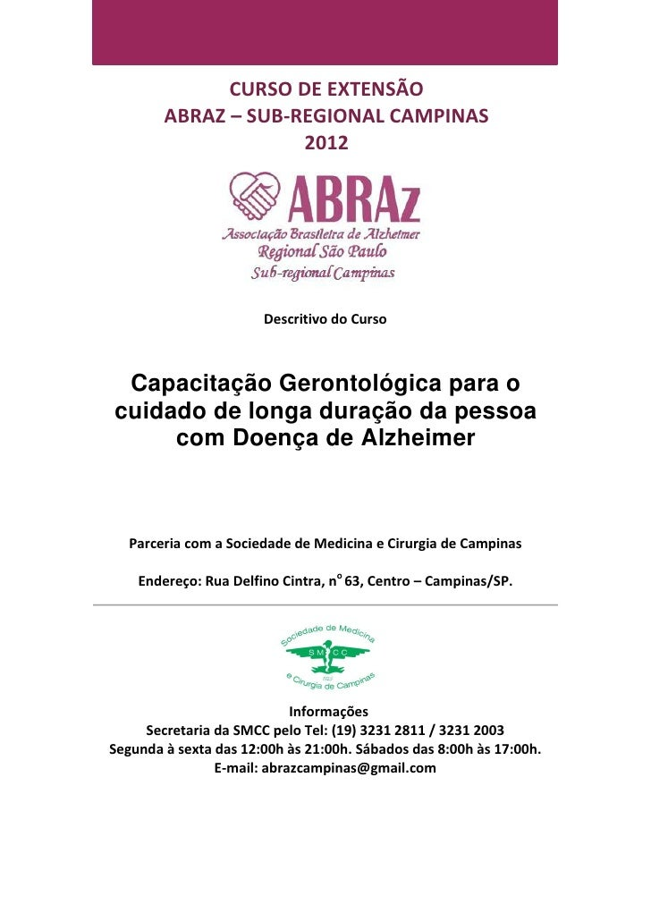 CURSO DE EXTENSÃO        ABRAZ – SUB-REGIONAL CAMPINAS                     2012                       Descritivo do Curso ...