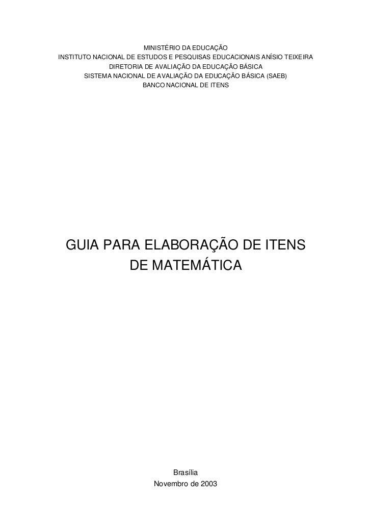 MINISTÉRIO DA EDUCAÇÃOINSTITUTO NACIONAL DE ESTUDOS E PESQUISAS EDUCACIONAIS ANÍSIO TEIXEIRA              DIRETORIA DE AVA...