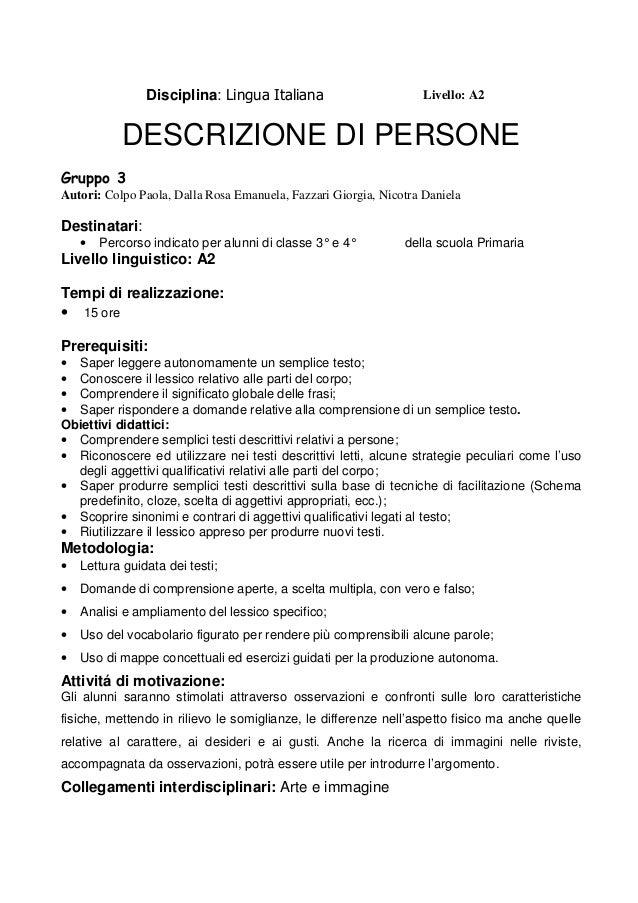 Descrizione Delle Persone A2 Italiano