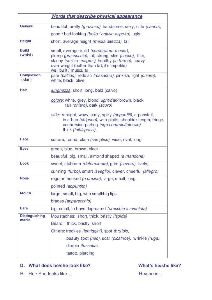 Descrizioni Fisiche Inglese 1
