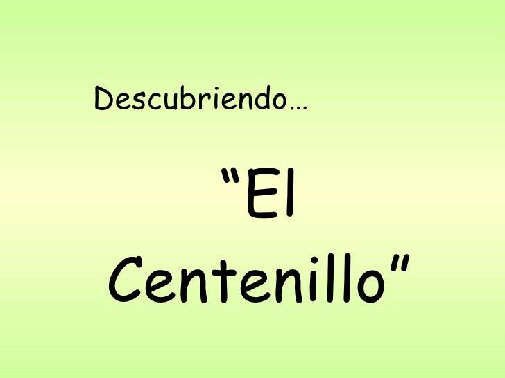""""""" El Centenillo"""" Descubriendo…"""