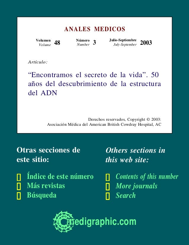 ANALES MEDICOS      Volumen             Número           Julio-Septiembre       Volume   48        Number   3         July...