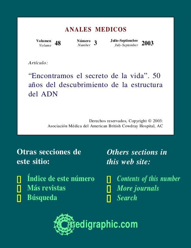ANALES MEDICOS      Volumen             Número           Julio-Septiembre       Volume   48        Number   3         July...