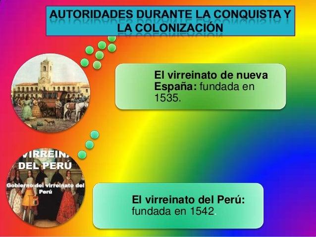 El virreinato del Perú:fundada en 1542.El virreinato de nuevaEspaña: fundada en1535.