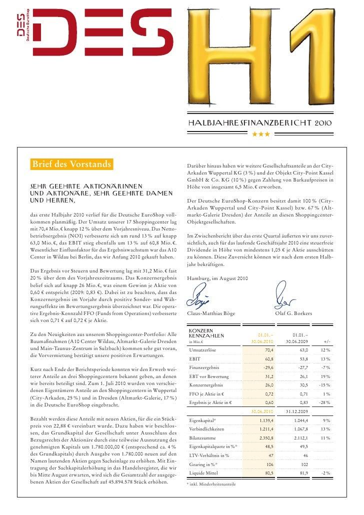 Deutsche EuroShop Halbjahresfinanzbericht 2010