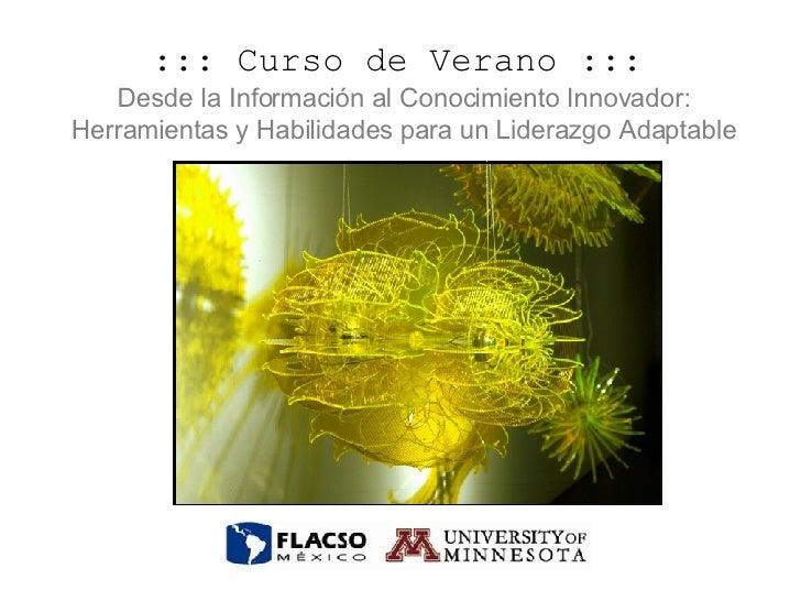 ::: Curso de Verano :::   Desde la Información al Conocimiento Innovador: Herramientas y Habilidades para un Liderazgo Ada...