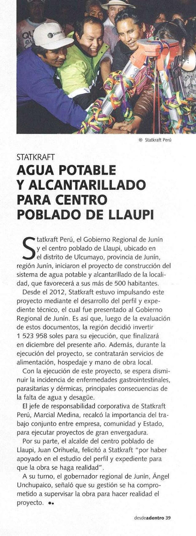 Artículo en Revista Desde Adentro sobre proyecto de agua potable y alcantarillado en el Centro Poblado de Llaupi