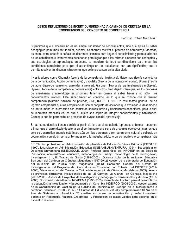 DESDE REFLEXIONES DE INCERTIDUMBRES HACIA CAMINOS DE CERTEZA EN LA                 COMPRENSIÓN DEL CONCEPTO DE COMPETENCIA...