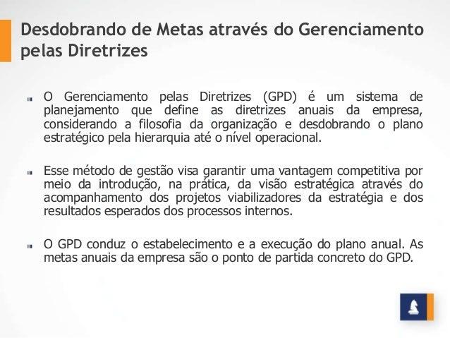 Desdobrando de Metas através do Gerenciamento pelas Diretrizes O Gerenciamento pelas Diretrizes (GPD) é um sistema de plan...