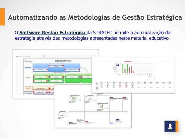 Automatizando as Metodologias de Gestão Estratégica O Software Gestão Estratégica da STRATEC permite a automatização da es...