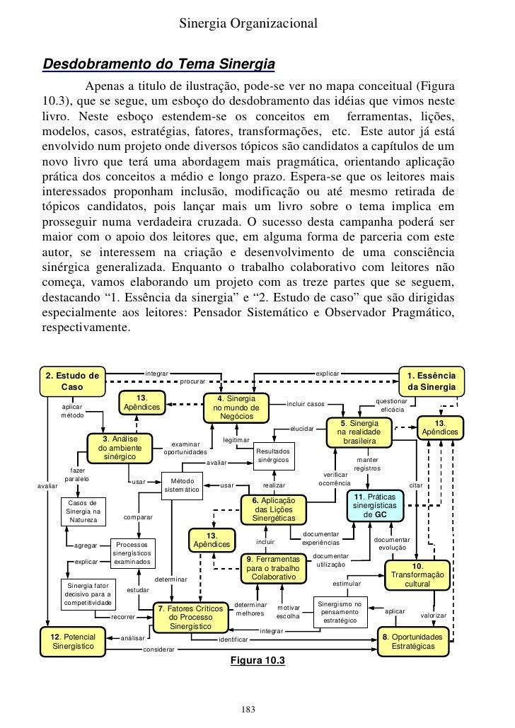 Sinergia Organizacional   Desdobramento do Tema Sinergia          Apenas a titulo de ilustração, pode-se ver no mapa conce...