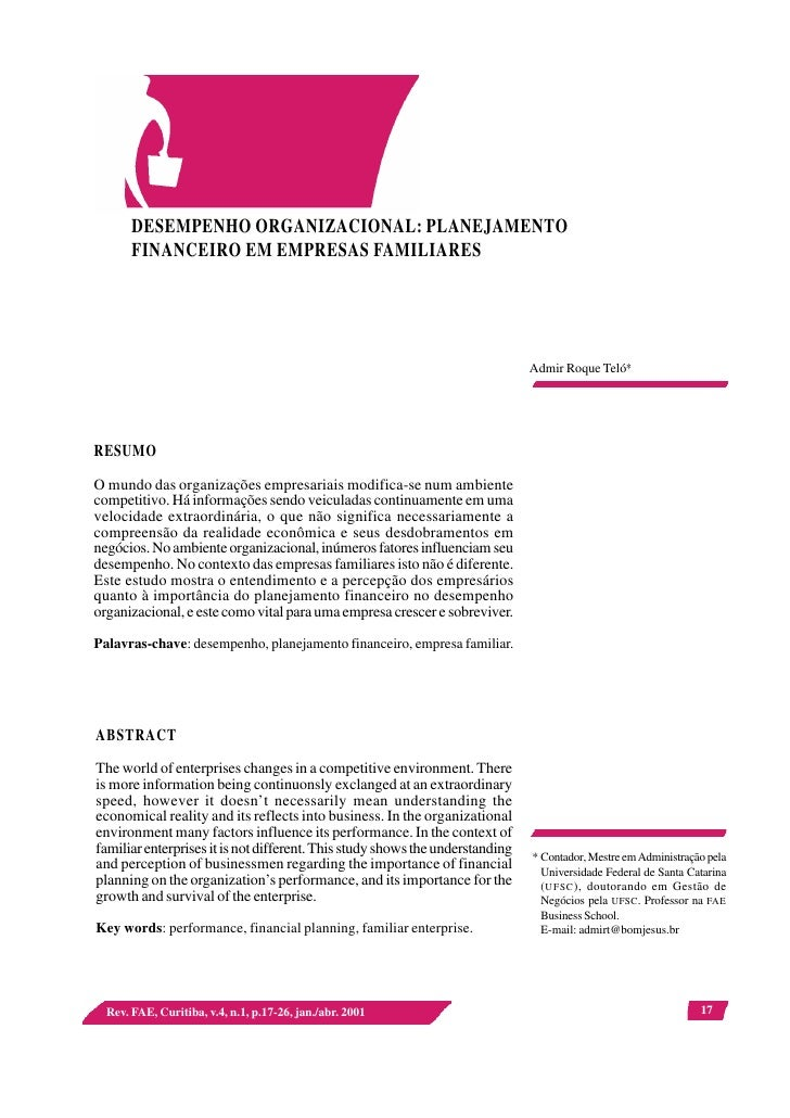 DESEMPENHO ORGANIZACIONAL: PLANEJAMENTO        FINANCEIRO EM EMPRESAS FAMILIARES                                          ...