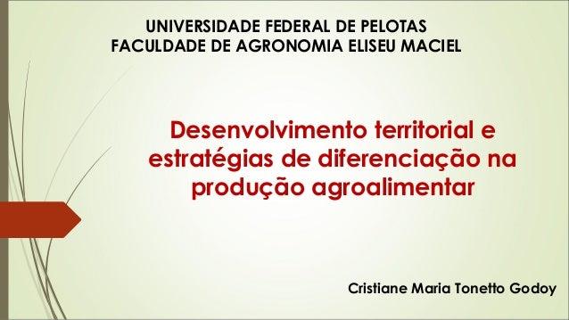 UNIVERSIDADE FEDERAL DE PELOTAS  FACULDADE DE AGRONOMIA ELISEU MACIEL  Desenvolvimento territorial e  estratégias de difer...
