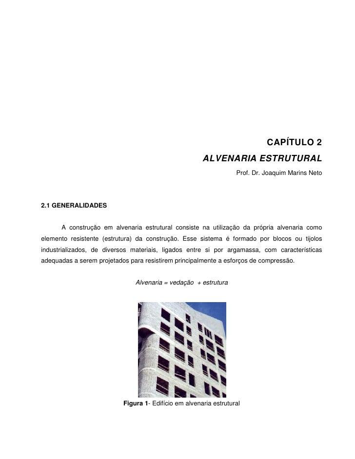 CAPÍTULO 2                                                       ALVENARIA ESTRUTURAL                                     ...