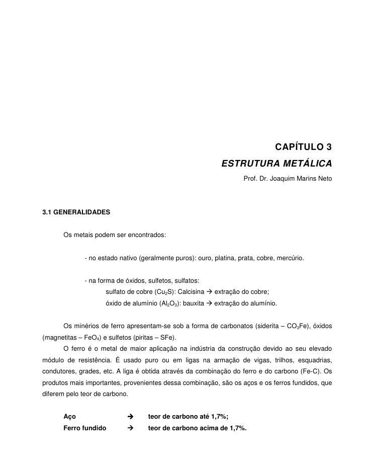 CAPÍTULO 3                                                             ESTRUTURA METÁLICA                                 ...