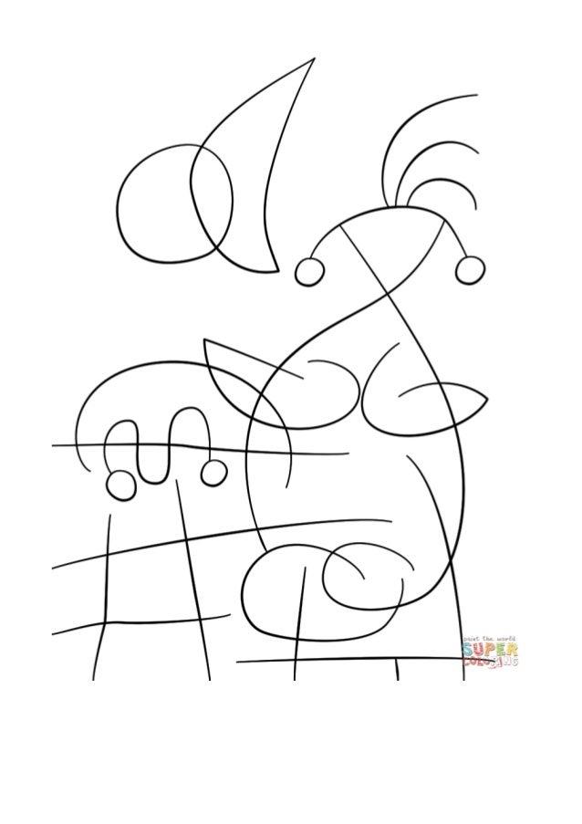 Desenho De The Sun Embracing The Lover By Joan Miro Para