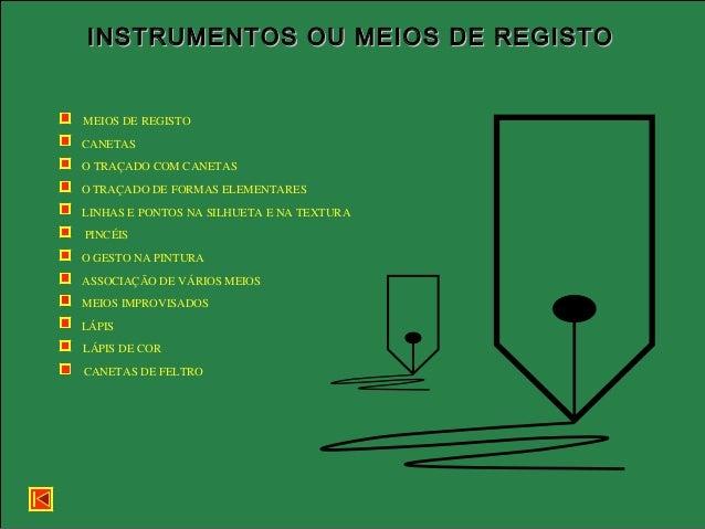 INSTRUMENTOS OU MEIOS DE REGISTOINSTRUMENTOS OU MEIOS DE REGISTO MEIOS DE REGISTO CANETAS O TRAÇADO COM CANETAS O TRAÇADO ...