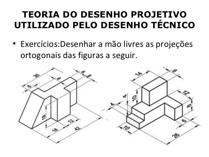 TEORIA DO DESENHO PROJETIVOUTILIZADO PELO DESENHO TÉCNICO• Exercícios:Desenhar a mão livres as projeções  ortogonais das f...