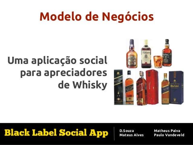 Modelo de Negócios  Uma aplicação social para apreciadores de Whisky  D.Souza Mateus Alves  Matheus Paiva Paulo Vandeveld