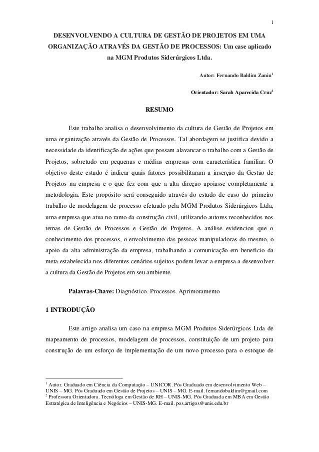 1 DESENVOLVENDO A CULTURA DE GESTÃO DE PROJETOS EM UMA ORGANIZAÇÃO ATRAVÉS DA GESTÃO DE PROCESSOS: Um case aplicado na MGM...