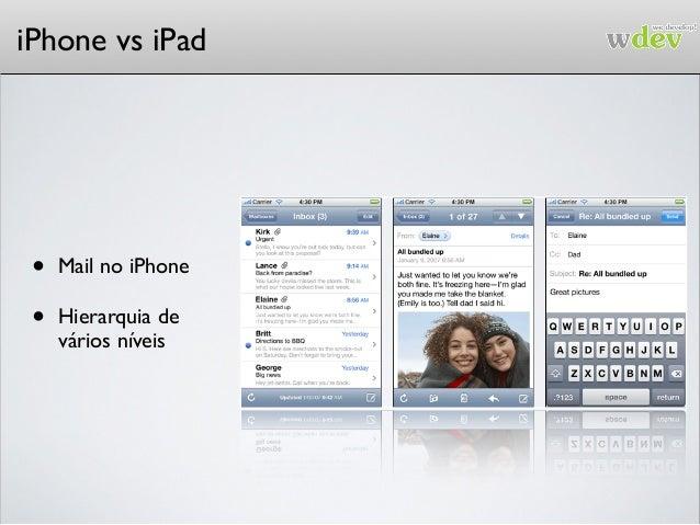 iPhone vs iPad • Mail no iPhone • Hierarquia de vários níveis