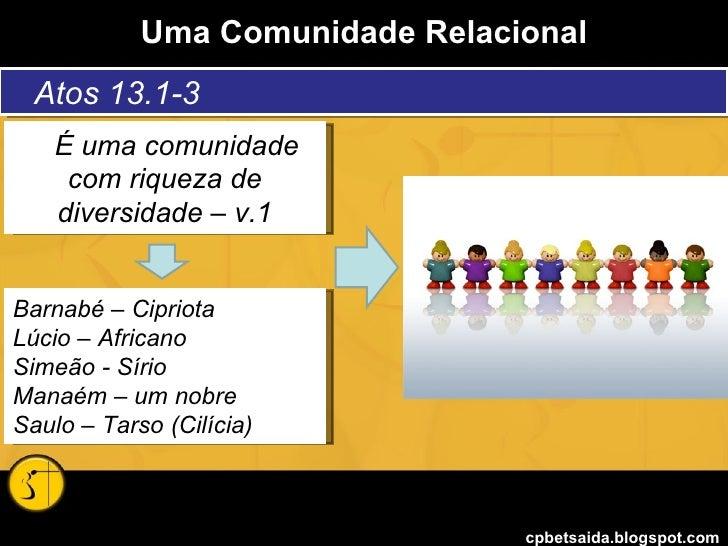Uma Comunidade Relacional cpbetsaida.blogspot.com Atos 13.1-3 É uma comunidade com riqueza de diversidade – v.1 Barnabé – ...