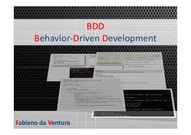 BDD Behavior-Driven Development  Fabiano da Ventura