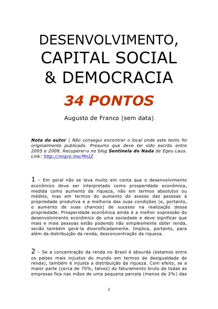 DESENVOLVIMENTO,     CAPITAL SOCIAL     & DEMOCRACIA               34 PONTOS               Augusto de Franco (sem data)   ...