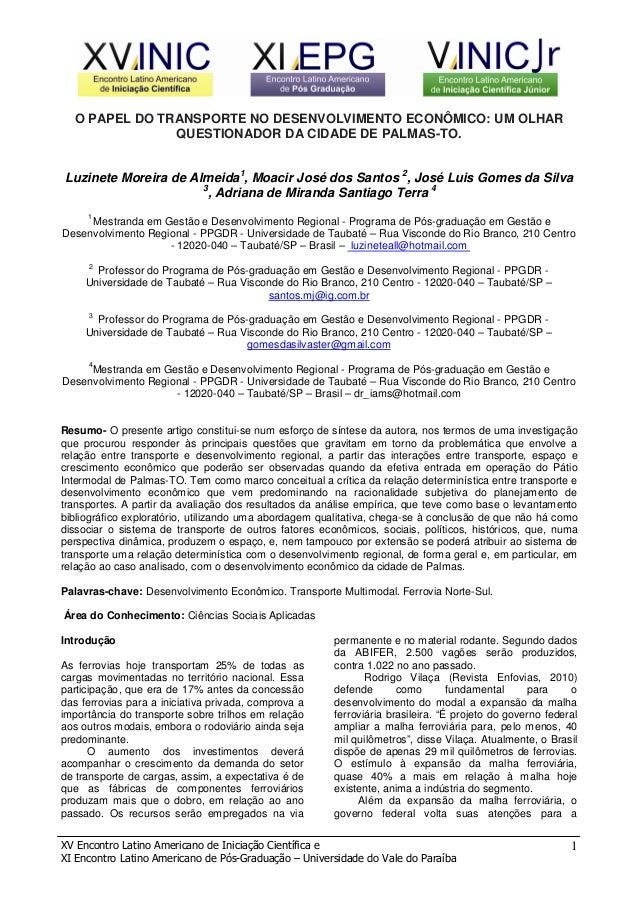 XV Encontro Latino Americano de Iniciação Científica e XI Encontro Latino Americano de Pós-Graduação – Universidade do Val...