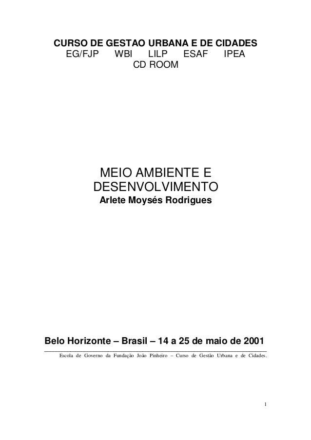 CURSO DE GESTAO URBANA E DE CIDADES     EG/FJP  WBI    LILP ESAF    IPEA                 CD ROOM                   MEIO AM...