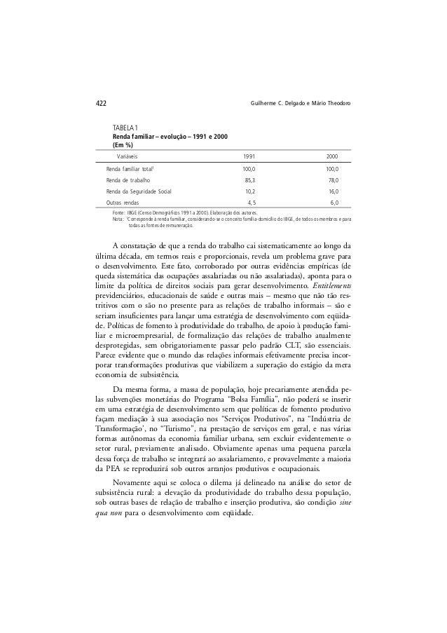 Guilherme C. Delgado e Mário Theodoro422 TABELA 1 Renda familiar – evolução – 1991 e 2000 (Em %) Variáveis 1991 2000 Renda...