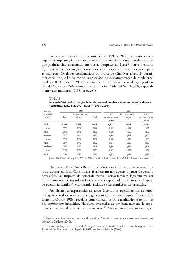 Guilherme C. Delgado e Mário Theodoro424 Por sua vez, as estatísticas censitárias de 1991 e 2000, portanto antes e depois ...