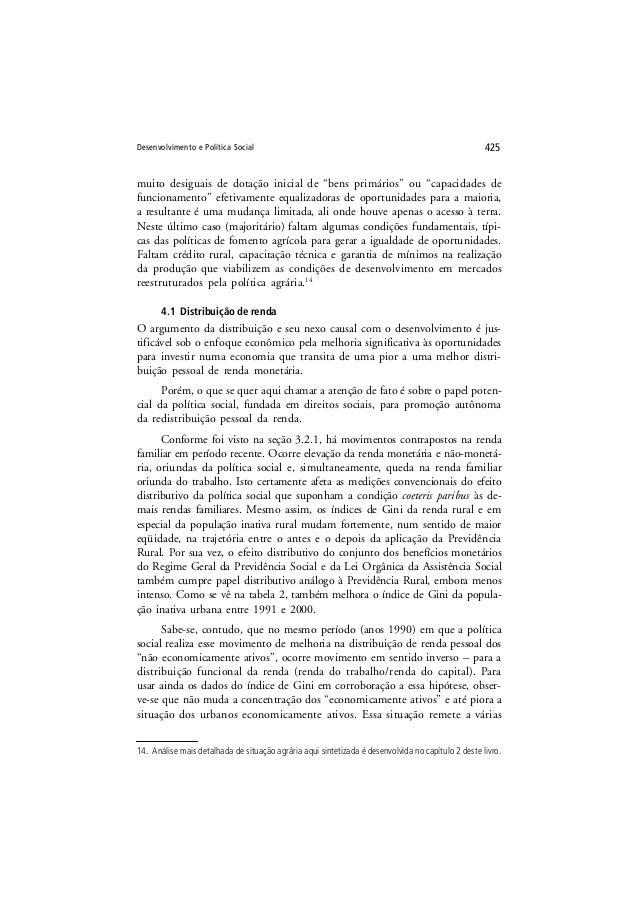"""Desenvolvimento e Política Social 425 muito desiguais de dotação inicial de """"bens primários"""" ou """"capacidades de funcioname..."""