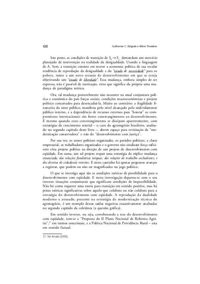 Guilherme C. Delgado e Mário Theodoro428 Isto posto, as condições de transição de S0 → S1 , demandam um exercício planejad...