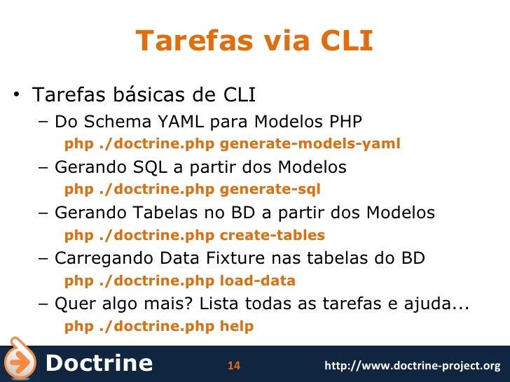 Tarefas via CLI <ul><li>Tarefas básicas de CLI </li></ul><ul><ul><li>Do Schema YAML para Modelos PHP </li></ul></ul><ul><u...