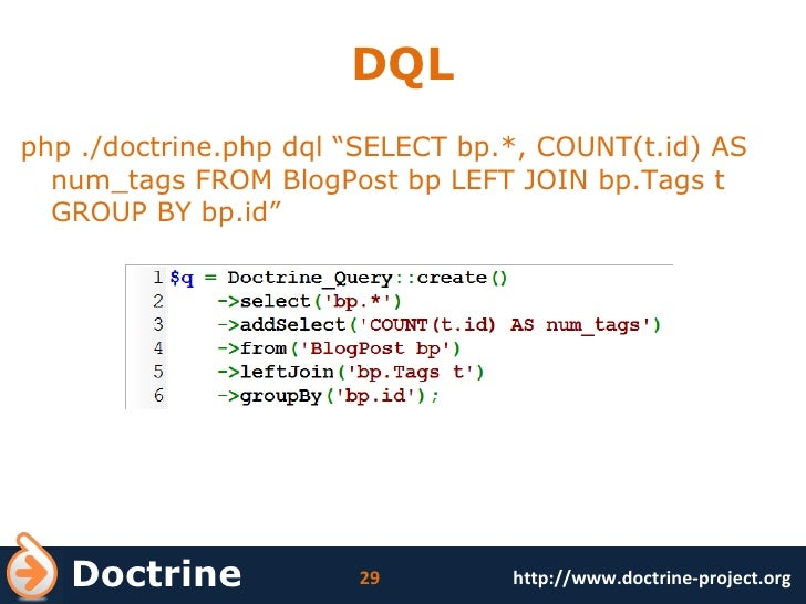 """DQL <ul><li>php ./doctrine.php dql """" SELECT bp.*, COUNT(t.id) AS num_tags FROM BlogPost bp LEFT JOIN bp.Tags t GROUP BY bp..."""