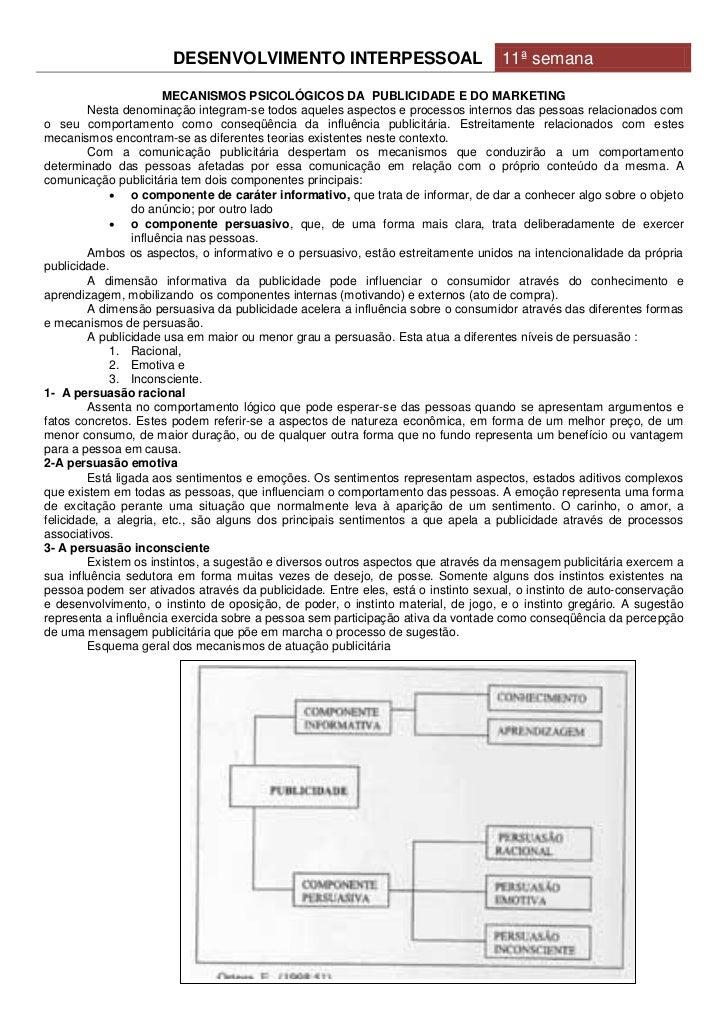 DESENVOLVIMENTO INTERPESSOAL                               11ª semana                       MECANISMOS PSICOLÓGICOS DA PUB...