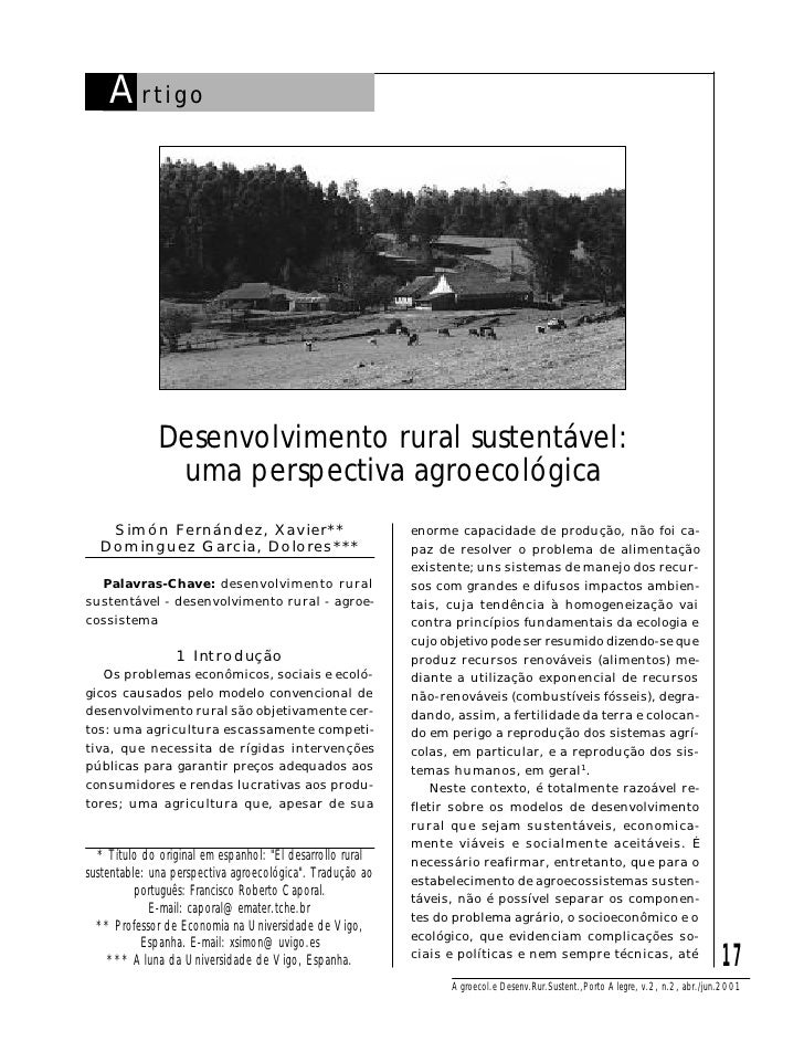A rtigo                   Desenvolvimento rural sustentável:                uma perspectiva agroecológica    Simón Fernánd...