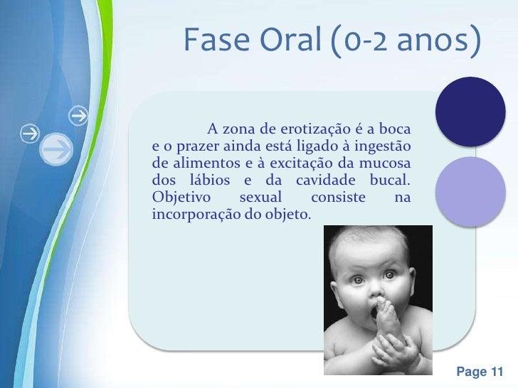 Fase Oral (0-2 anos)        A zona de erotização é a bocae o prazer ainda está ligado à ingestãode alimentos e à excitação...