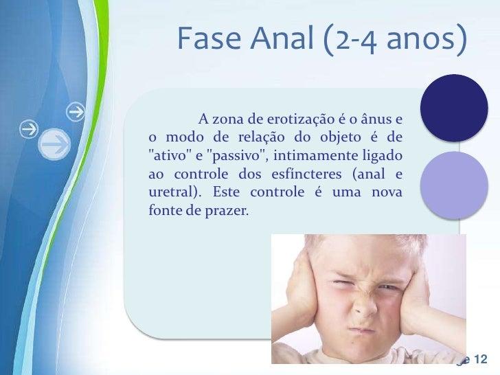 """Fase Anal (2-4 anos)        A zona de erotização é o ânus eo modo de relação do objeto é de""""ativo"""" e """"passivo"""", intimament..."""