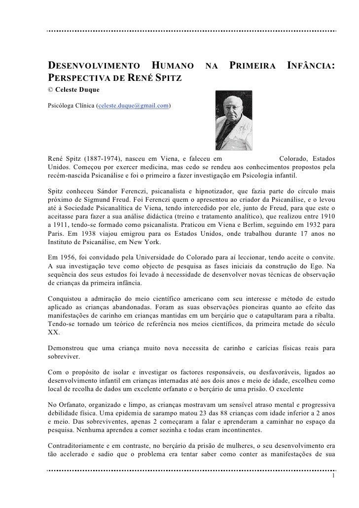 DESENVOLVIMENTO HUMANO                                 NA      PRIMEIRA             INFÂNCIA: PERSPECTIVA DE RENÉ SPITZ © ...